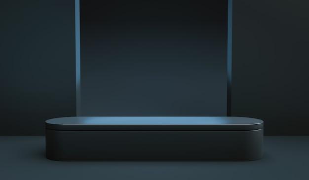 Carrinho de exposição de produto preto ou pedestal de pódio em fundo de contador de publicidade com cenários em branco. renderização 3d.