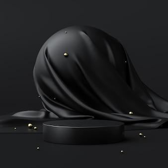 Carrinho de fundo abstrato preto produto ou pedestal de pódio no display de publicidade de luxo com cenários em branco. renderização 3d.