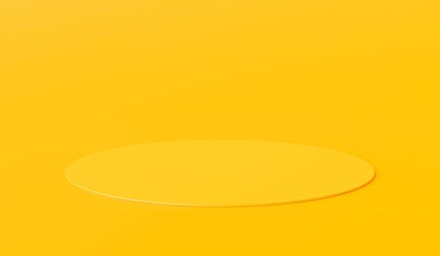 Carrinho de fundo amarelo do produto ou pedestal do pódio no display de publicidade com planos de fundo em branco. renderização 3d.
