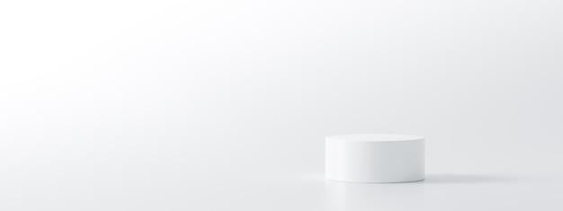 Carrinho de fundo branco do produto ou pedestal do pódio no visor vazio com cenários em branco.
