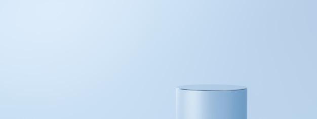 Carrinho de fundo de produto azul claro ou pedestal de pódio no visor vazio com cenários em branco.