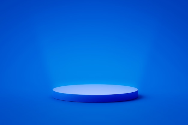 Carrinho de fundo de produto azul ou pedestal de pódio em display promocional com cenários em branco.
