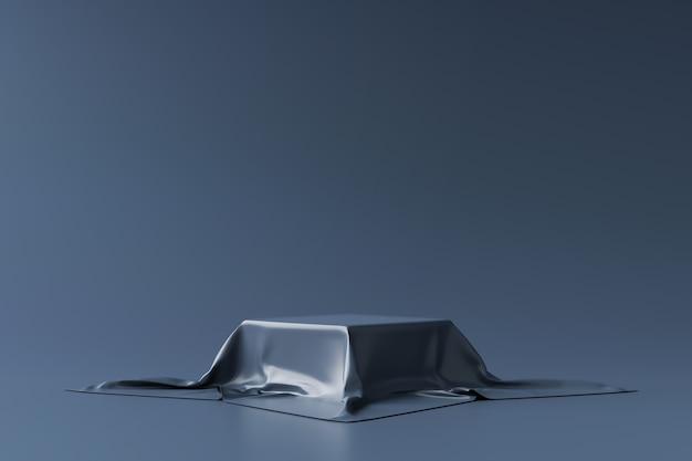 Carrinho de fundo do produto azul marinho ou pedestal do pódio no display promocional com cenários em branco. .
