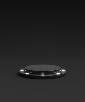 Carrinho de fundo preto do produto ou pedestal do pódio do vencedor no display de néon de publicidade com cenários em branco. renderização 3d.