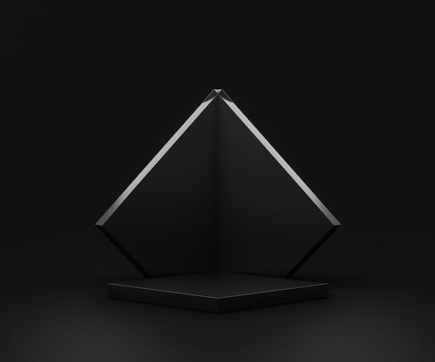 Carrinho de fundo preto do produto ou pedestal do pódio no display de publicidade com cenários em branco.