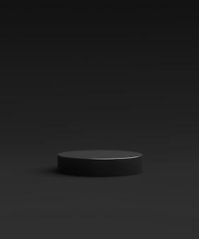 Carrinho de fundo preto do produto ou pedestal do pódio no display de publicidade com fundos em branco. renderização 3d.