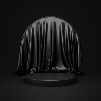 Carrinho de fundo preto do produto ou pedestal do pódio no display de publicidade de luxo com cenários em branco. renderização 3d.