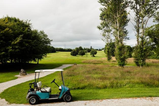 Carrinho de golfe no campo de golfe