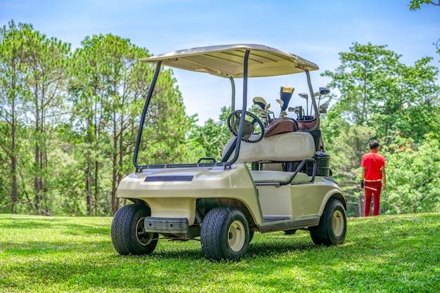 Carrinho de golfe no fairway do campo de golfe para o jogador