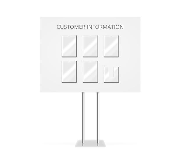 Carrinho de informações do cliente mock up stand isolado.