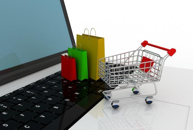 Carrinho de laptop e sacola de compras. ilustração 3d