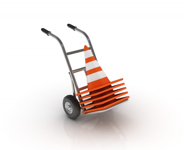 Carrinho de mão com cones de trânsito