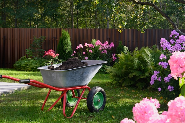 Carrinho de mão com húmus no gramado verde em uma casa de fazenda privada. trabalho sazonal e fertilização em jardim para flores. ao ar livre.