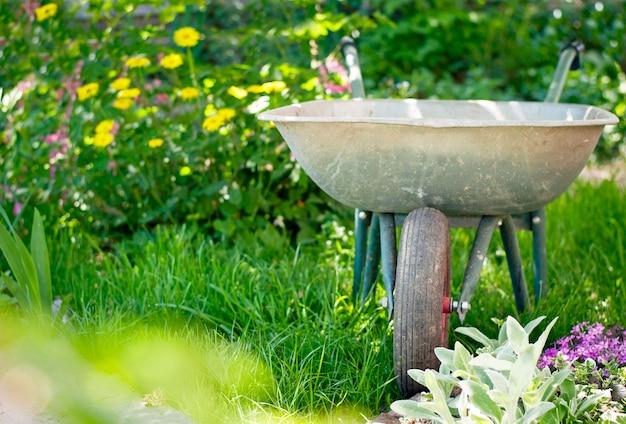 Carrinho de mão no jardim