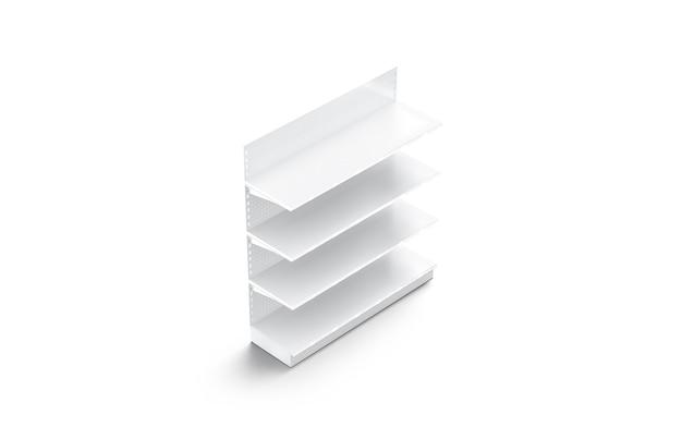 Carrinho de maquete de prateleiras de vitrine brancas em branco, vista lateral