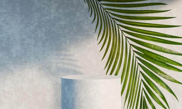 Carrinho de pódio de exposição de produto com folhas naturais de sombra no fundo de concreto renderização 3d