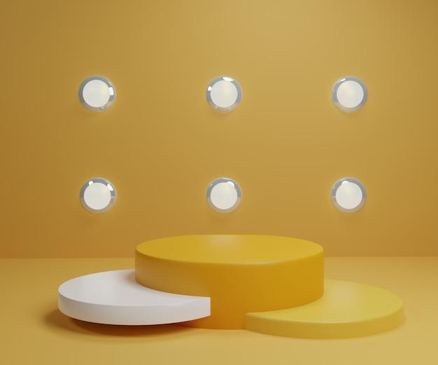 Carrinho de produto branco ouro amarelo em fundo. conceito abstrato geometria mínima. tema da plataforma do pódio do estúdio. fase de apresentação do mercado de negócios de exposições. ilustração 3d render design gráfico