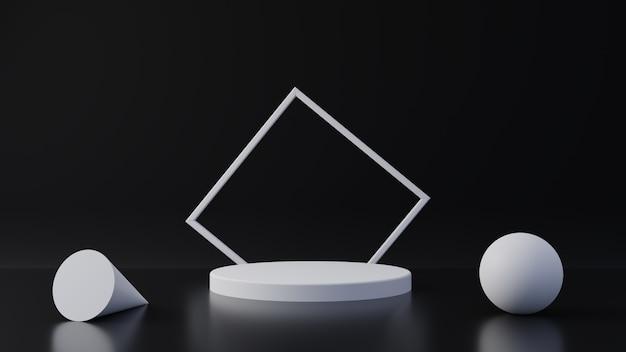 Carrinho de produto branco sobre fundo preto. conceito abstrato geometria mínima. tema da plataforma do pódio do studio