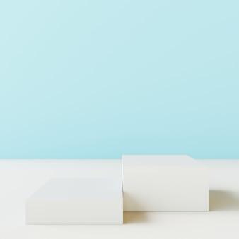 Carrinho de produto em branco com parede azul.