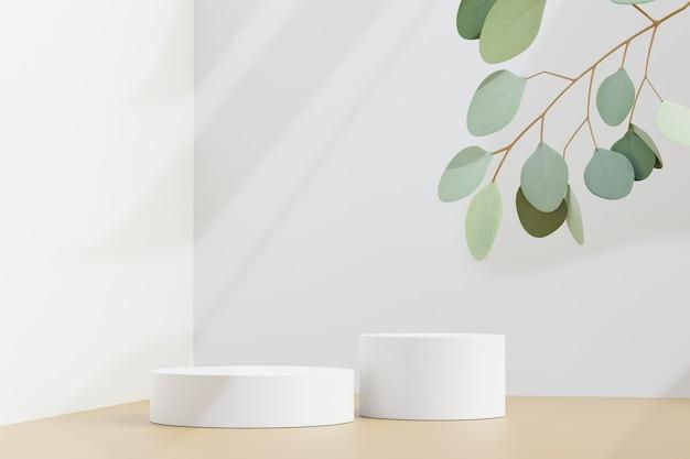 Carrinho de produtos cosméticos de exposição, dois pódio branco com planta de folha verde sobre fundo claro. ilustração de renderização 3d