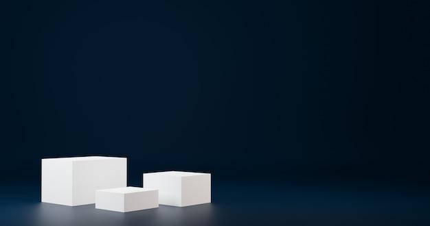 Carrinho de produtos de cubo branco luxuoso em sala azul, cenário de estúdio para produto, design minimalista, renderização 3d