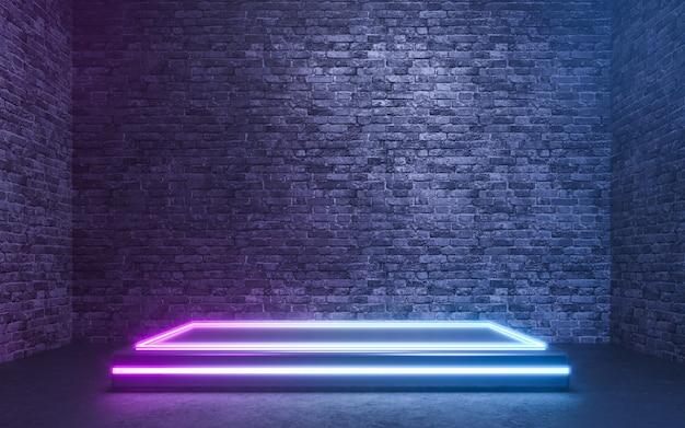 Carrinho de produtos em branco com luzes de néon no fundo da parede de tijolos. renderização 3d