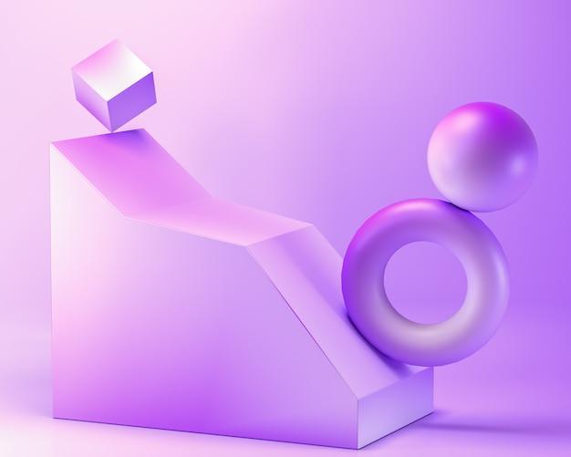 Carrinho de produtos geométricos em branco pastel abstrato de cor roxa