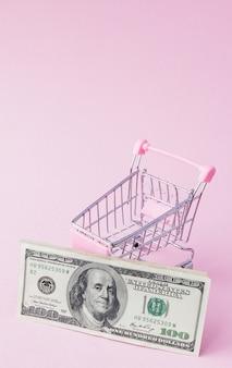 Carrinho de supermercado cheio de notas de dólar nos rosa
