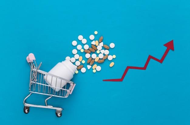Carrinho de supermercado com frasco de comprimidos com seta apontando para cima em um azul
