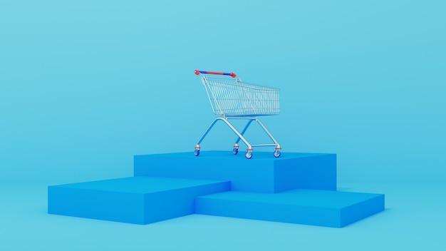 Carrinho de supermercado em um pódio azul