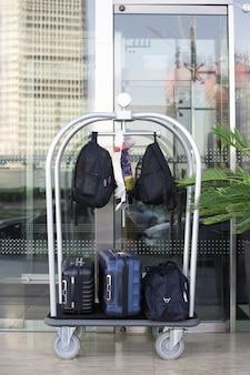 Carrinho do carregador com malas e mochilas fica perto de uma palmeira verde na entrada