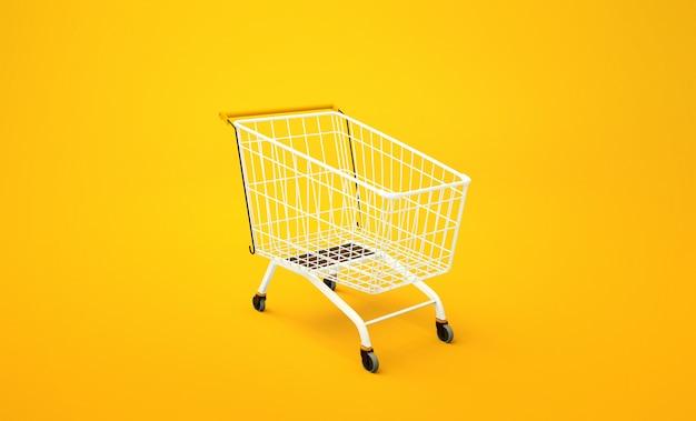 Carrinho para produtos em amarelo. renderização em 3d