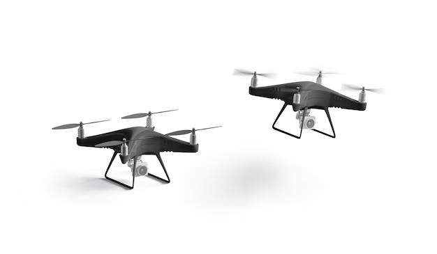 Carrinho preto em branco e maquete de quadrocopter voador, isolado