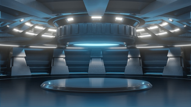 Carrinho vazio futurista para tecnologia de futuro moderno fundo sci-fi