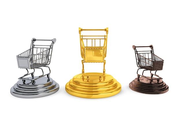 Carrinhos de compras dourados, prateados e de bronze em um fundo branco