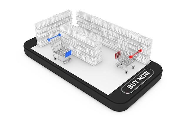 Carrinhos de compras perto de prateleiras de mercado com produtos em branco ou mercadorias em estilo argila como interior de supermercado sobre o telefone móvel smartphone com mas agora o botão em um fundo branco. renderização 3d