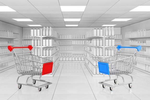 Carrinhos de compras perto de prateleiras de mercado com produtos em branco ou mercadorias em estilo de argila como close up extremo do interior do supermercado. renderização 3d.