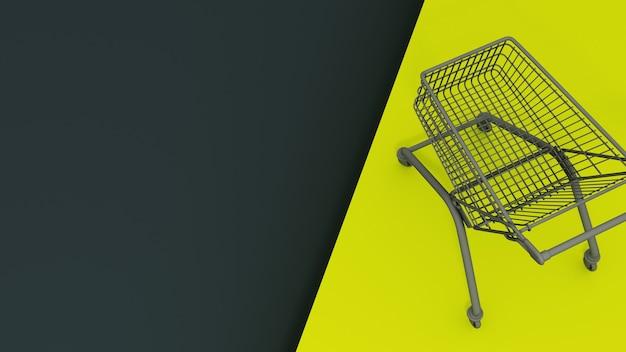 Carrinhos de compras pretos sobre um fundo azul e amarelo escuro. conceito de venda. renderização 3d