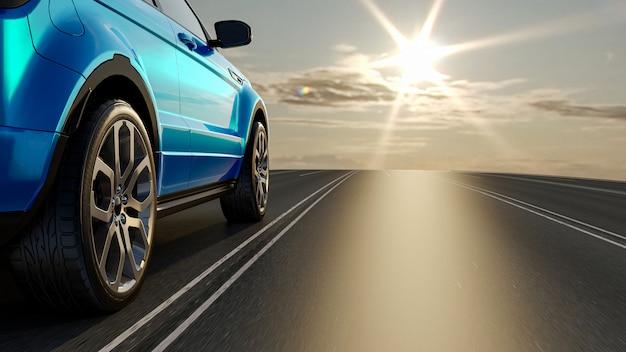 Carro 3d na estrada para encontrar o sol, conceito 3d render para publicidade de produtos automotivos