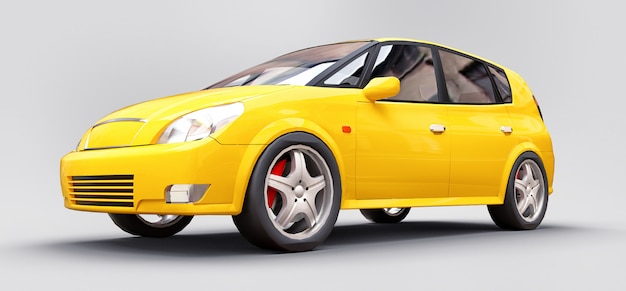 Carro amarelo da cidade com superfície brilhante