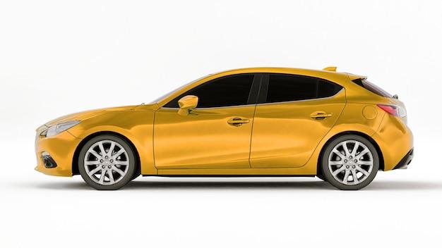 Carro amarelo da cidade com superfície em branco para seu design criativo. renderização 3d. Foto Premium
