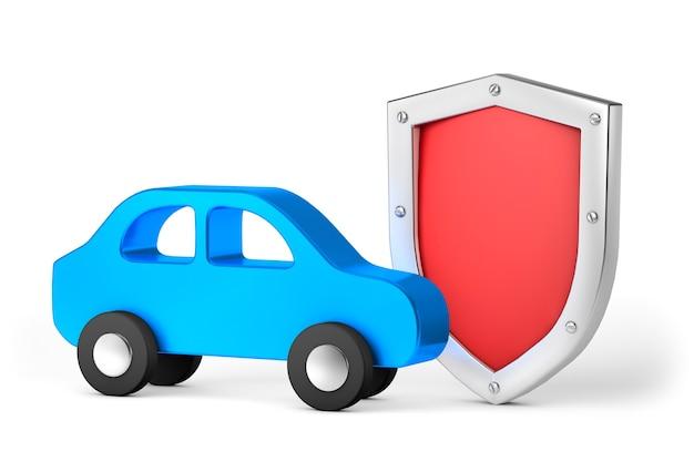 Carro azul com escudo vermelho. proteção ou seguro automóvel. isolado em um fundo branco. 3d render
