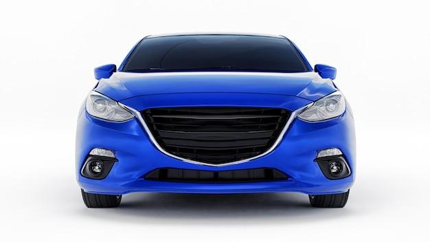 Carro azul da cidade com superfície em branco para seu design criativo. renderização 3d.