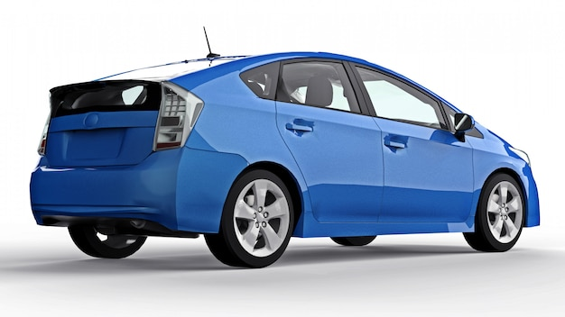 Carro azul híbrido da família moderna em uma superfície branca com uma sombra no chão
