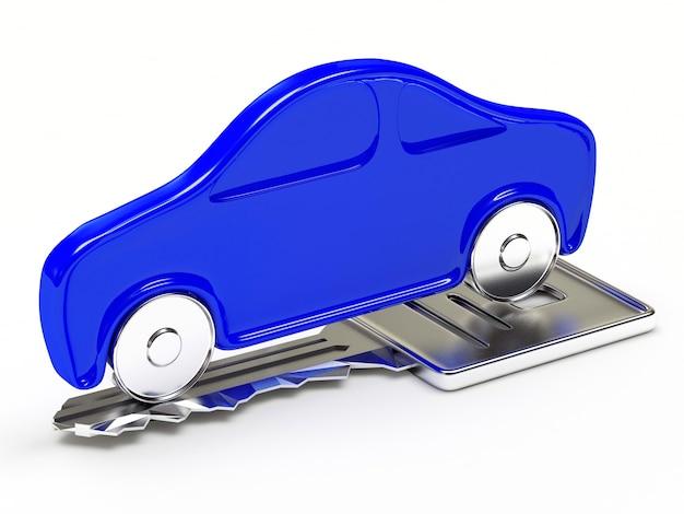 Carro azul na chave