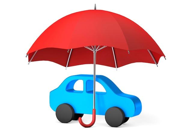Carro azul sob um guarda-chuva vermelho. proteção ou seguro automóvel. isolado em um fundo branco. 3d render