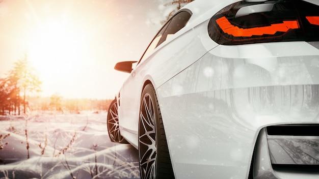 Carro branco na neve. renderização 3d e ilustração.