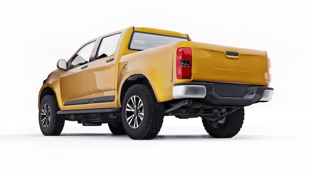 Carro coletor amarelo sobre um fundo branco. renderização 3d.