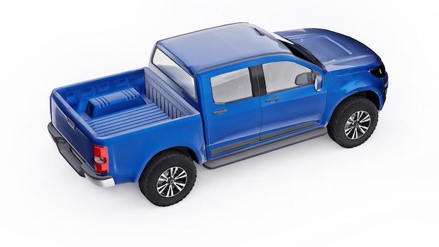 Carro coletor azul sobre um fundo branco. renderização 3d.