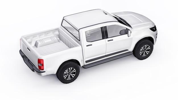 Carro coletor branco sobre um fundo branco. renderização 3d.